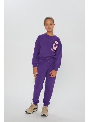 Little Star Little Star Kız Çocuk Süs Ayıcıklı Sweatshirt Mor